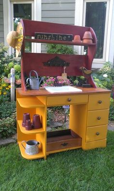 Fall potting table from old desk, old sink, old shelf....my favorite so far :)