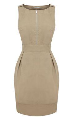 Karen Millen Tailored Cotton Dress khaki ,fashion Karen Millen Solid Color Dresses outlet