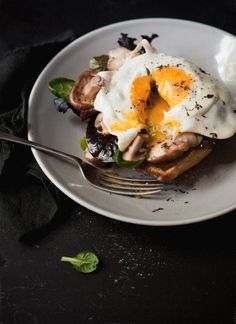 Black Truffle Fried Egg with Mushrooms and Blue Cheese