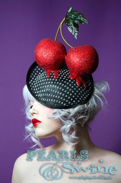 Giant Red Glitter Cherry Hat