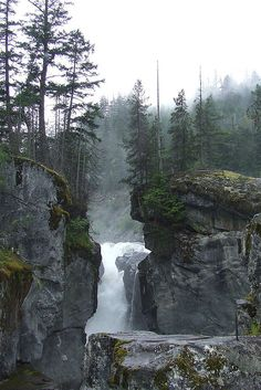 British Columbia. #Waterfall between cliffs in the wild of #BC.