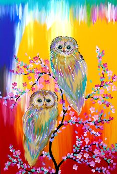 """Rainbow Owls"" by Cathy Jacobs. Paintings for Sale. Cherry Blossom branch with 2 birds Acrylic painting on canvas So colorful and charming. I love the composition and the choice of colors!"