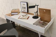Έπιπλο :: Έπιπλα γραφείου :: Γραφείο Morse 1,40m / λάκα 130 λευκό / 112 φυσικό / 801 White Matt - E-höros.gr -