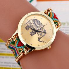 New 2015 Fashion casual DIY Elephant Pattern Women Dress Watches National Weave Gold Bracelet montre femme Quartz Wristwatch