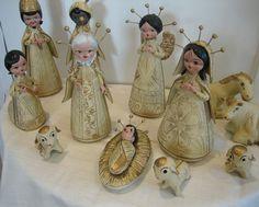 Vintage Christmas Manger Nativity Set 12 Piece Clay Pottery