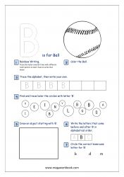 Lowercase Alphabet Recognition Activity Worksheet - Small Letter - b for ball Letter S Activities, Kindergarten Writing Activities, English Worksheets For Kindergarten, Alphabet Tracing Worksheets, Preschool Worksheets, Free Preschool, Printable Alphabet, Free Printable, Alphabet Writing Practice