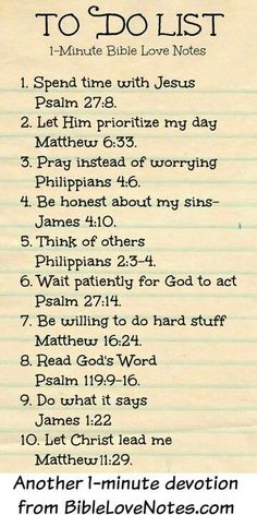 To Do List - 1 Minute Bible Love Notes