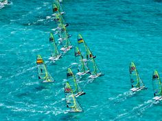 A fleet of 49ers at an ISAF worlds event. Just beautiful!