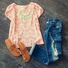 The necklace might be a little too chunky, but cute outfit