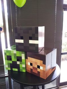 Minecraft Cardboard Masks - Creepers, spiders and Steve masks make a great costume or a fun accessory for the party.