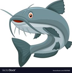 Illustration of Cartoon catfish vector art, clipart and stock vectors. Eagle Cartoon, Pirate Cartoon, Deer Cartoon, Cartoon Fish, Cute Panda Cartoon, Happy Cartoon, Free Vector Images, Vector Art, Inkscape Tutorials