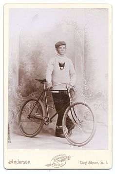 ca. 1890s, [cabinet card of a stylish member of a bike club posed with his high-end racing bike and sweater emblazoned with a winged no. '9′], Andersonvia Capitol Gallery, CDVs & Cabinet Card Collection