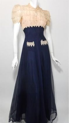 1930s evening gown formal dress long two-tone white navy blue puff sleeves lace sheer chiffon silk late War Era