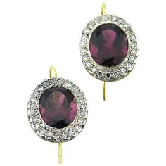 Pink tourmaline diamond oval cluster earrings | From a unique collection of vintage drop earrings at https://www.1stdibs.com/jewelry/earrings/drop-earrings/