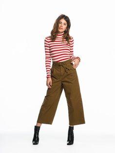 Wide Leg Paper Bag Trousers