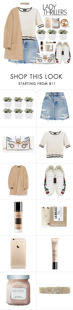 """""""Floral Sneakers"""" by essentiallyessence ❤ liked on Polyvore featuring Abigail Ahern, Ksubi, Monki, Zara, Gucci, Guerlain, L:A Bruket and Laura Mercier"""
