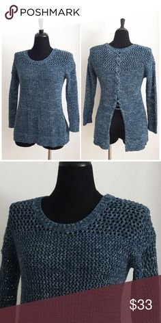 🌟LIKE NEW🌟 Lucky Brand Open knit Sweater Sweater has been gently worn but in perfect condition. The fabric content is 54% cotton 33% acrylic and 14% nylon. The bust measurement is approximately 17 inches across laying flat from armpit to armpit. The length of the sweater is approximately 26.5 inches from shoulder to hem. Lucky Brand Sweaters Crew & Scoop Necks
