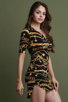 Chain Print Button-Up Belted Shirt Dress-Clothes, Dresses-Fierce Finds Mobile Boutique Belted Shirt Dress, The Dress, Dress Skirt, Sexy Dresses, Short Dresses, Fashion Dresses, Beautiful Girl Image, Beautiful Models, Beautiful Women