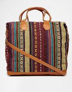 Park Lane Blanket Travel Bag With Leather Trim