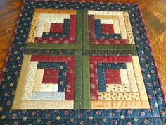 Log Cabin Small Handmade Quilt/Table Topper in by RubysQuiltShop