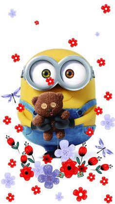 Bob the minion & teddy bear wallpaper