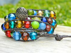 Multi colored round 8 mm glass bead wrap adjustable bracelet