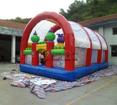 Inflatable bouncer with tent inflatable castles children kid game park