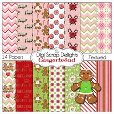 Gingerbread Digital Papers Peppermint Pink by DigiScrapDelights #Pink #Red #Green #Scrapbook #Christmas #Digital #Printable #DIY