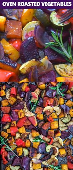 This is the easiest, simplest, and tastiest Oven Roasted Vegetables you'll ever try. Perfectly seasoned and colorful, they are healthy and full of flavor! #vegetables #vegetarian #vegan #fall #thanksgiving #winter