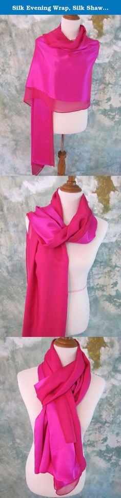 """Silk Evening Wrap, Silk Shawl, Fuchsia, Oversized Scarf, Evening Shawl, Handmade. Simple, elegant, well cared and well made, give you the red-carpt moment. Silk Charmeuse has that beautiful """"shiny"""" finish. It is the common idea when we talk about silk. Crepe chiffon silk is soft, light, diaphanous with a nice pebbly texture. This breath-taking silk evening wrap combines silk charmeuse and crepe chiffon together, which makes it versatile in styling. One of kind! ❥ 100% Luxury mulberry silk…"""
