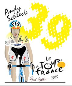 Andy Schleck loses the Tour de France by 39 seconds. Drawn in Adobe Illustrator. 16X20. By Randy Wrighthouse