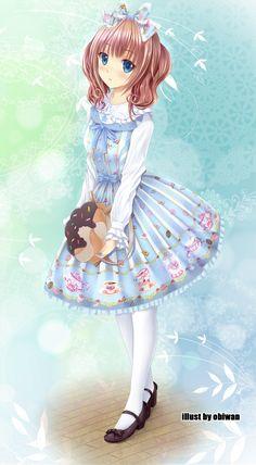 ✮ ANIME ART ✮ sweet lolita. . .Angelic Pretty. . .purse. . .bow. . .twintails. . .cute. . .kawaii