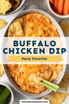 Buffalo Chicken Dip is a party favorite! Made with shredded chicken, cream cheese, ranch, and red hot buffalo sauce, this easy buffalo chicken dip recipe is so simple and insanely delicious! #partydip #appetizer #gamedaysnacks #buffalochicken Game Day Appetizers, Game Day Snacks, Game Day Food, Buffalo Chicken Dip Recipe, Chicken Dips, Shredded Chicken, Dip Recipes, Sauce Recipes, Appetizer Recipes