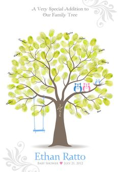 Baby Shower Thumbprint Tree Guest Book Poster with Ink Pad, Nursery Wall Art, Personalized Print w/ Owls & Swings, 13x19