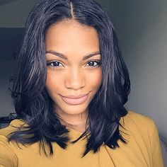 Human Hair Glueless Lace Front / Lace Front Wig Brazilian Hair Straight Wig Short Bob / Middle Part With Baby Hair / Natural Hairline / Glueless Short Human Hair Lace Wig - All About Hairstyles Black Cabelo, Bob Hairstyles, Straight Hairstyles, Medium Black Hairstyles, Layered Hairstyles, Medium Hair, Curly Hair Styles, Natural Hair Styles, Brazilian Hair Wigs