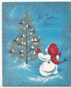 Cute Snowman Conducting Birds In Tree, Vintage Christmas Card With Gold Details!