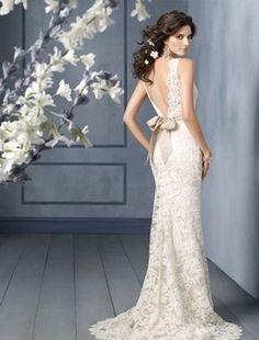Bateau Sheath Wedding Dress  with No Waist/Princess Seams in Alencon Lace. Bridal Gown Style Number:31638539