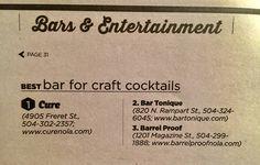 Nola Bars-Craft Cocktails Bar Tonique, Cure, Barrel Proof