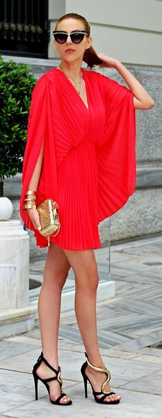 Red Pleated Batwing Dress Ladylike Style