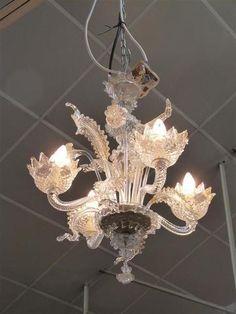 Lustre de Venise en verre étiré doré à 4 lumières à décor de
