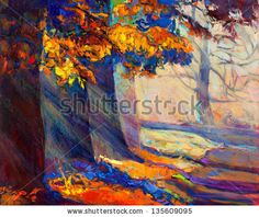 Original oil painting showing beautiful sunset landscape.Autumn forest and sun rays . Modern Impressionism - stock photo