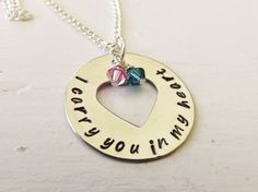 I carry you in my heart necklace, adoption, birth mother, loss of a child on Etsy, $25.00
