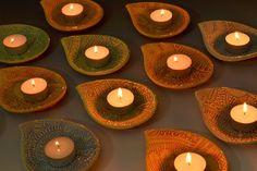 Diwali Diyas Tealight Holders in Green by Creativewithclay on Etsy, $16.00 #india #diwali @diyas