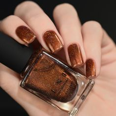 Cabin Fever Burnt Orange Holographic Nail Polish ($10) ❤ liked on Polyvore featuring beauty products, nail care and nail polish