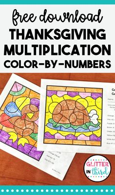 Do you need activities for Thanksgiving math centers? Sign up and grab these FREE multiplication color-by-number worksheets for your elementary students! #thanksgiving #math #mathcenter #colorbynumbers #multiplication #free #tpt #teachingideas #elementary | GlitterinThird.com