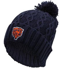 Reebok Chicago Bears Ladies Navy Blue Retro Cuffed Pom Cable Knit Beanie  Chicago Bears Women e89bd17ce982
