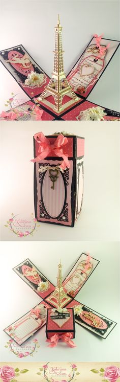 Hello everyone ! Today I have something special for you - romantic/shabby chic exploding box with Eiffel tower inside. The Valentine's...