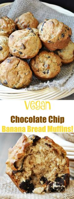 Vegan banana bread muffins with chocolate chips! So delicious and made with…