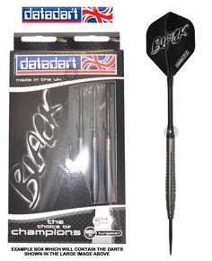 Darts - 24g Steel Tip Tungsten Darts - Datadart - <b>Black</b> - Titanium Matt - <b>Style 2</b>