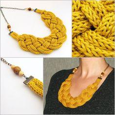 mustársárga színű kötött, fonott nyaklánc /  mustard colored knitted, braided necklace